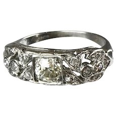 Art Deco Platinum Diamond Band Ring