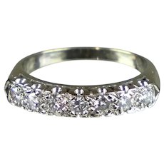 Art Deco 14K White Gold 7-Diamond Band Ring