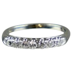 Art Deco Platinum 7-Diamond Band Ring
