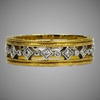 Cathy Waterman 22K Gold & Platinum Diamond Eternity Band Ring
