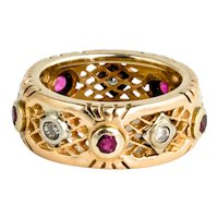 Wide 1940s 14K Gold Eternity Ring with Diamonds & Rubies