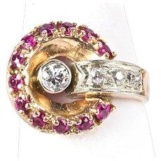 Vintage Retro 14K Rose Gold Diamond Ruby Ring   Sparkle  Gorgeous Design
