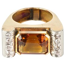 Vintage Retro 14K Rose Gold Diamond Citrine Ring   Big & Bold  Stunning