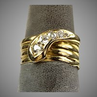 Victorian 18K Gold Diamond Serpent Snake Ring Unisex