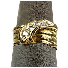 Antique Victorian 18K Gold Diamond .50ctw Serpent Snake Ring  Unisex  Stunning