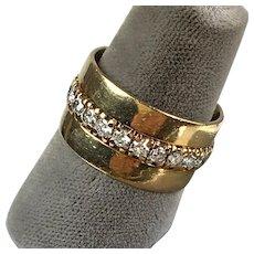 Beautiful Retro 14K Rose Gold Diamonds  Wide Eternity Band  Wedding Ring  RARE