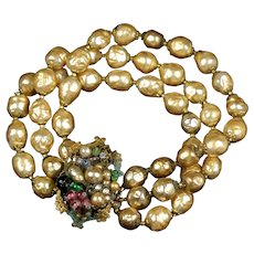 Miriam Haskell Style Baroque Pearl Bracelet
