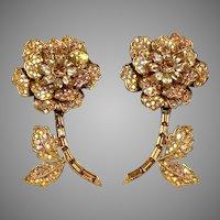 Dramatic Signed Tara Aurora Borealis Flower Earrings