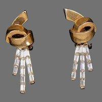 Signed Crown Trifari Drop Earrings