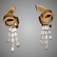 Signed Crown Trifari Drop Earrings