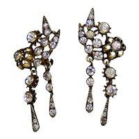 Sparkly Signed De Rosa Drop Earrings