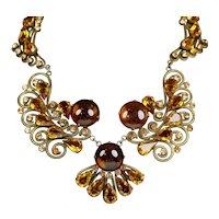 Stunning Vintage Topaz Glass Necklace