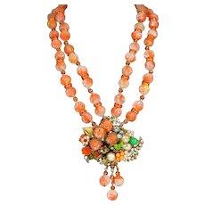Smashing Vintage DeMario Coral Bead Necklace