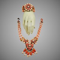 Knock Out Signed Haskell Coral Set Necklace Bangle