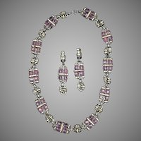 Art Deco French Pink Bead Necklace Earrings Set