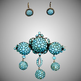 Victorian Gold Turquoise Drop Brooch & Earrings Set