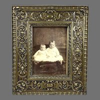Antique Repousse Brass & Wood Picture Frame
