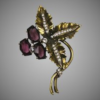 Vintage Large Flower Pin Amethyst Glass on Gold Big & Bold
