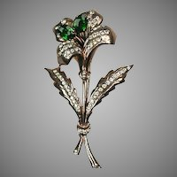 Stunning Vintage Signed Large Sterling Flower Pin