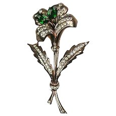 Stunning RARE Vintage Large Sterling Flower Pin  Green & White  Signed BB