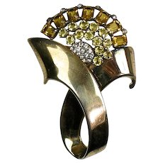Large Retro Rose Gold Vermeil Brooch  Full of Sparkle  Yellow Crystals  Big & Bold  Stunning  RARE