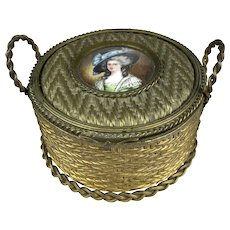 Rare Antique French Dore Basket Box with Signed Miniature