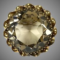 Vintage Large Faceted Topaz Pin Pendant