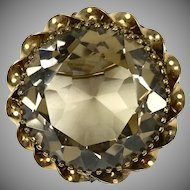 Large Vintage Faceted Topaz Pin Pendant  Twisted GF Frame  Sparkle