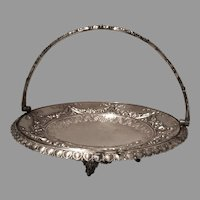 Large Antique Silver Bridal Basket with Handle