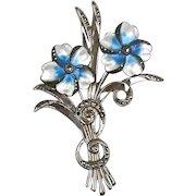 Stunning RARE Vintage Sterling Enamel Marcasite Brooch Flowers Spray – A Beauty