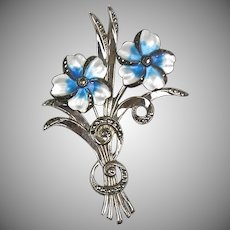 Stunning RARE Vintage Sterling Enamel Marcasite Brooch Flowers Spray – A Beauty