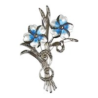 Stunning Sterling Enamel Marcasite Flowers Brooch