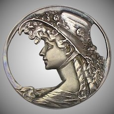 Vintage Art Deco Sterling Silver Brooch Pin Pendant  Silhouette  Lady with Hat  Lovely