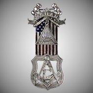 Antique Sterling Silver Jr Order American Mechanics Medal   American Flag  Hallmarks  Enamel  RARE
