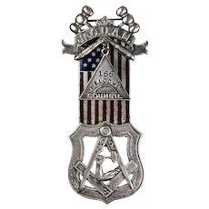 Antique Sterling Silver Enamel  Jr Order American Flag Mechanics Medal