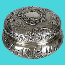 19th C French Powder Jar Sterling Silver Repousse Vanity
