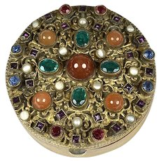 Antique Austrian Small Round Jeweled Box