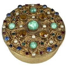 RARE Antique Austrian Small Round Jeweled Box