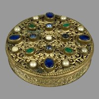 Antique Austrian Small Round Jeweled Box