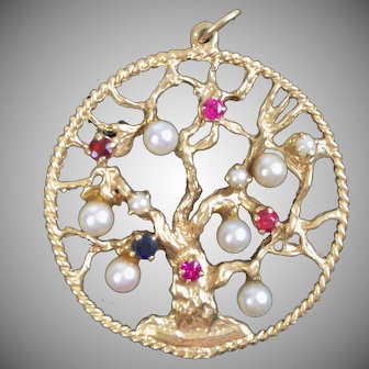 Vintage Large 14K Gold Jeweled Tree of Life Charm   Ruby Sapphire  Pearl   Top Quality