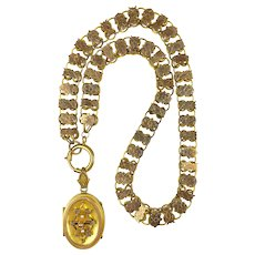 Antique Victorian Rose GF Book Chain Necklace   Gold Front Embellishments   Locket  RARE