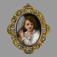 Large Victorian Hand Painted Boy Portrait Swivel Brooch