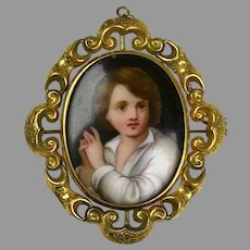 Large Victorian Hand Painted Boy Portrait Swivel Brooch