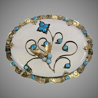 RARE Victorian 14K Gold Chalcedony & Turquoise Brooch
