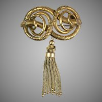 Victorian Chased Love Knot Brooch with Tassel RARE