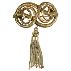 Gorgeous Antique Victorian Love Knot Brooch with Tassel    Deep Chasing   RARE