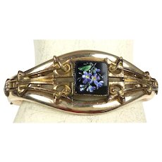 Antique Victorian Rose Gold GF Bangle Bracelet  Onyx  Enamel Flowers  Top Quality RARE