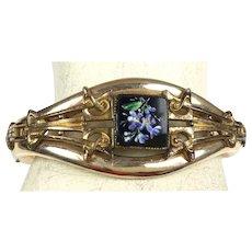 Antique Victorian Rose Gold GF Bangle Bracelet  Onyx  Enamel Flowers  Top Quality RARE