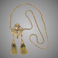 Victorian 14K Gold Enamel Tassels Chain Necklace