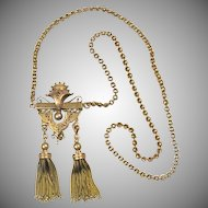 Antique Victorian 14K Gold Chain with Tassels Enamel Necklace Pendant / Pin RARE